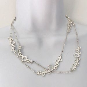 Jewelry - Silver Oval and Rhinestone Versatile Long Necklace